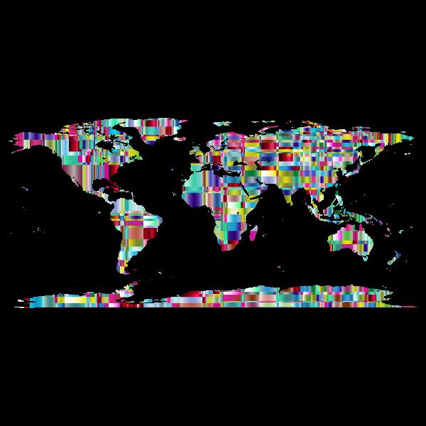 Chromatic Checkered Crystalline World Map