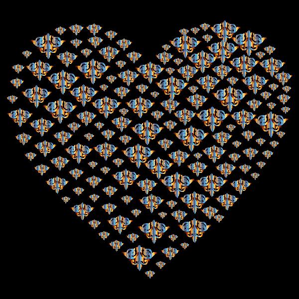 Chromatic Damask Heart No Background