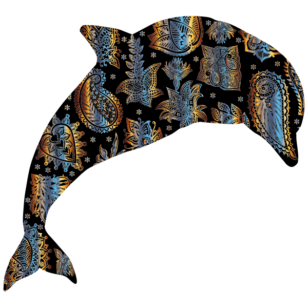 Chromatic Floral Pattern Dolphin 2