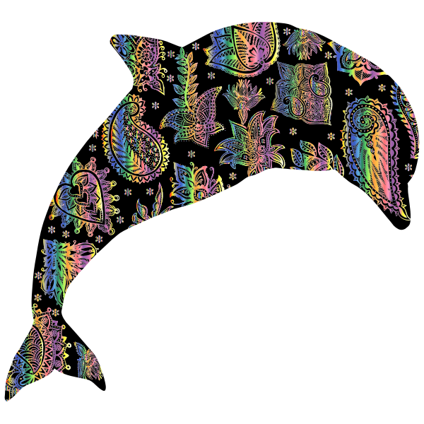 Chromatic Floral Pattern Dolphin 5