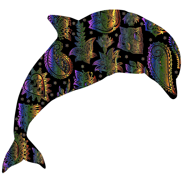 Chromatic Floral Pattern Dolphin