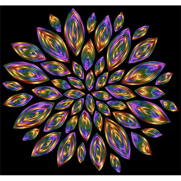 Chromatic Flower Petals 12 With Background