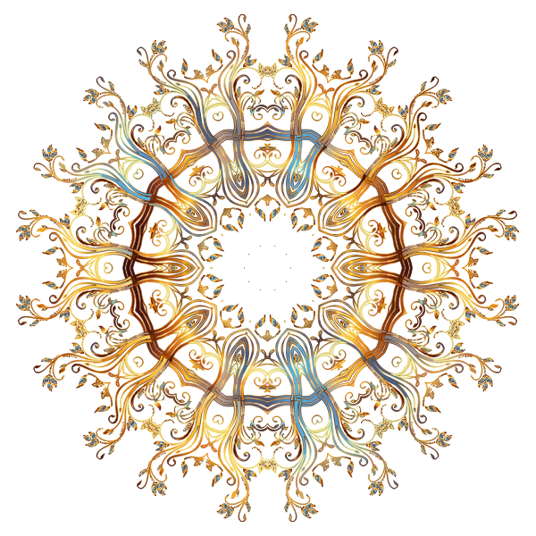 Chromatic Gold Flourish Ornament 3 No Background