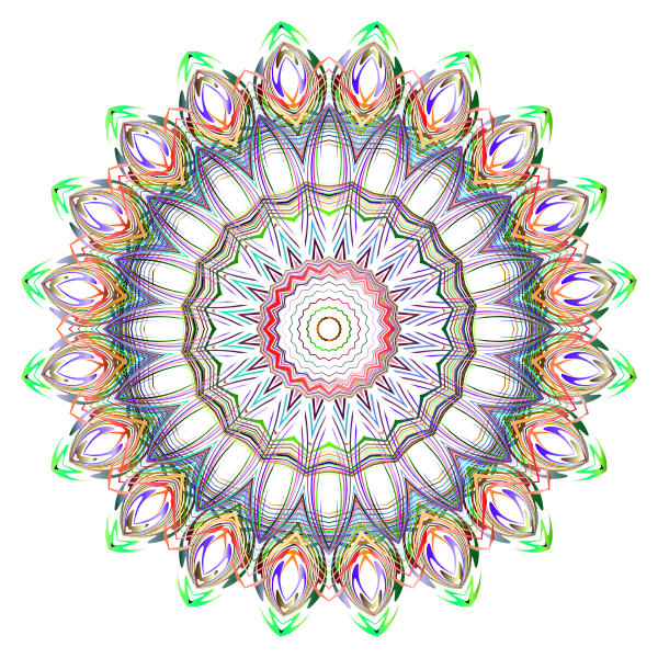Chromatic Mandala Line Art No Background