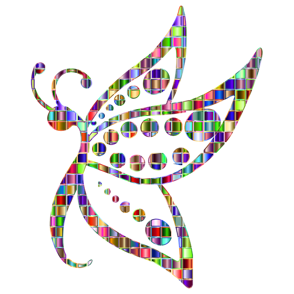 Chromatic Mosaic Spotted Butterfly