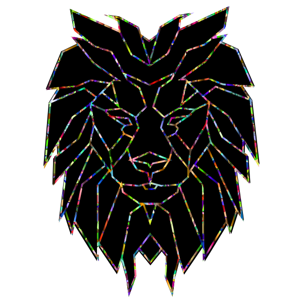 Chromatic Polygonal Lion Face