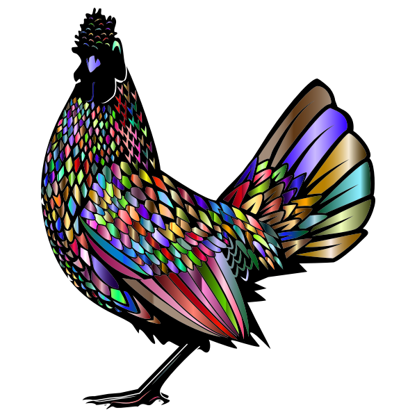 Rooster silhouette with chromatic pattern