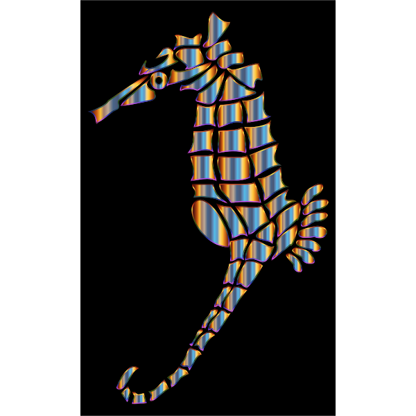 Chromatic Stylized Seahorse Silhouette