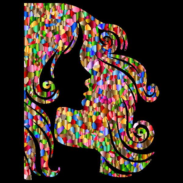 Chromatic Tiled Female Hair Profile Silhouette