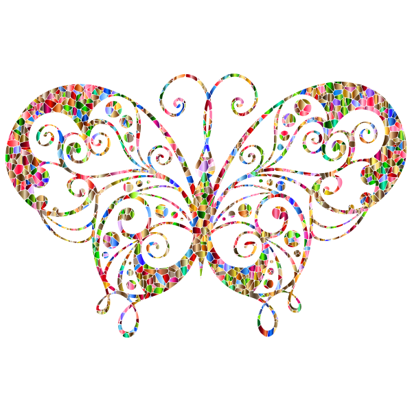 Chromatic tiled flourish butterfly Silhouette