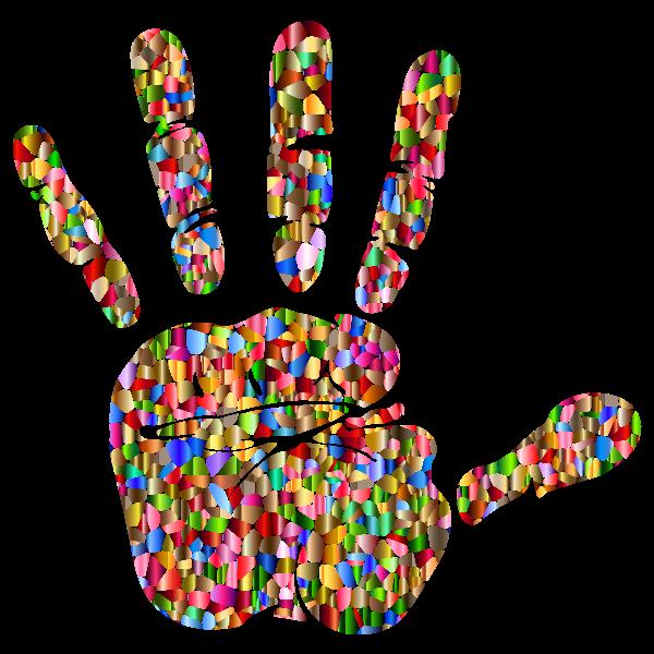 Chromatic Tiled Handprint Silhouette