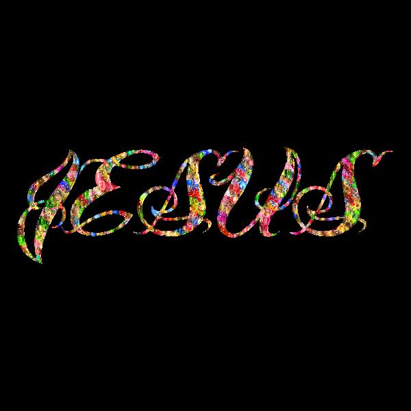 Chromatic Tiled Jesus Typography Enhanced No Background