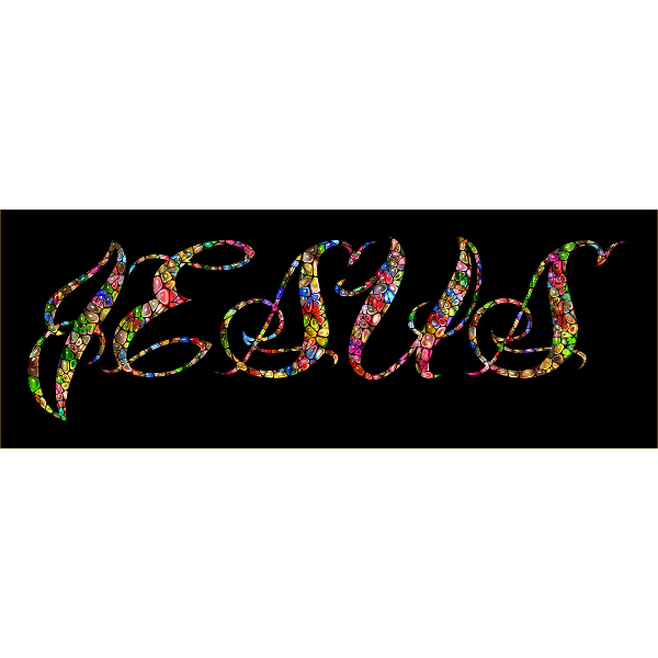 Chromatic Tiled Jesus Typography Enhanced
