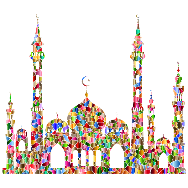 Chromatic Tiled Mosque Silhouette 2