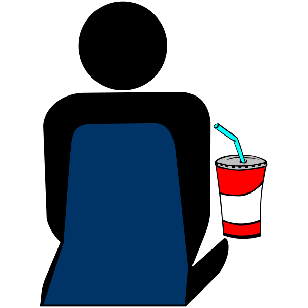 Person with soft drink at the cinema vector icon