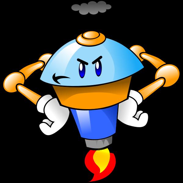 Fuming robot mascot