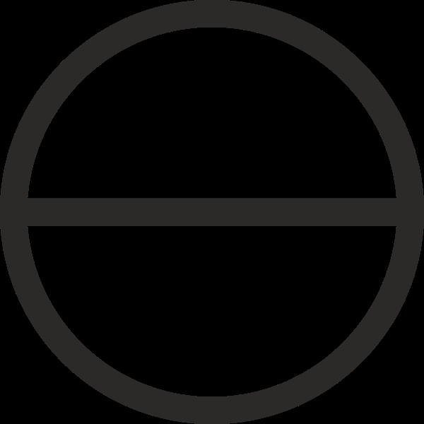 Circle with horizontal diameter sign vector image