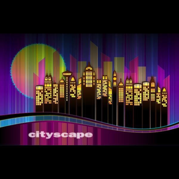 Vector clip art of cityscape skyline