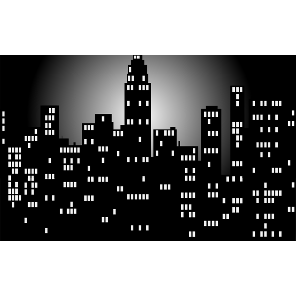 Black and white night time city skyline vector image