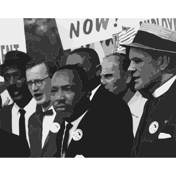 Martin Luther King with his men