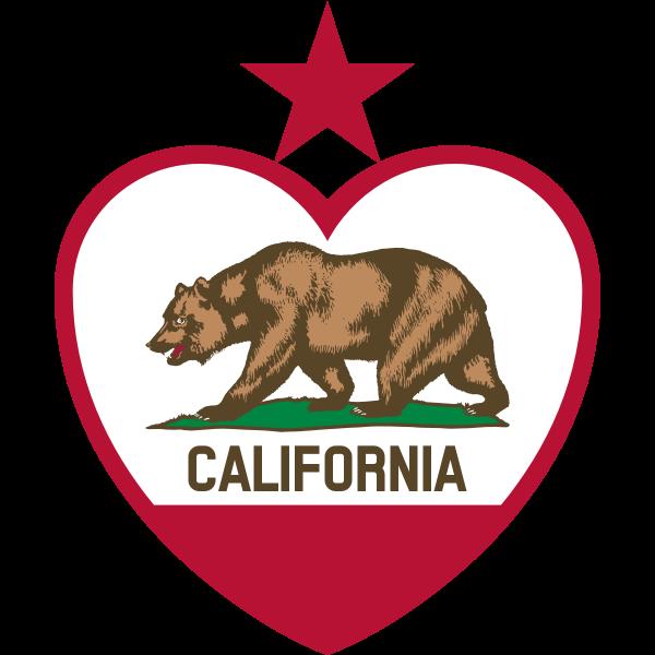 Flag of California Republic in heart shape vector image