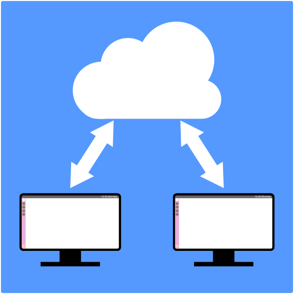 Computers sharing with cloud diagram vector illustration