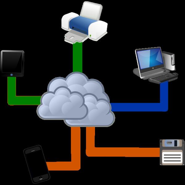 Cloud computing diagram vector illustration