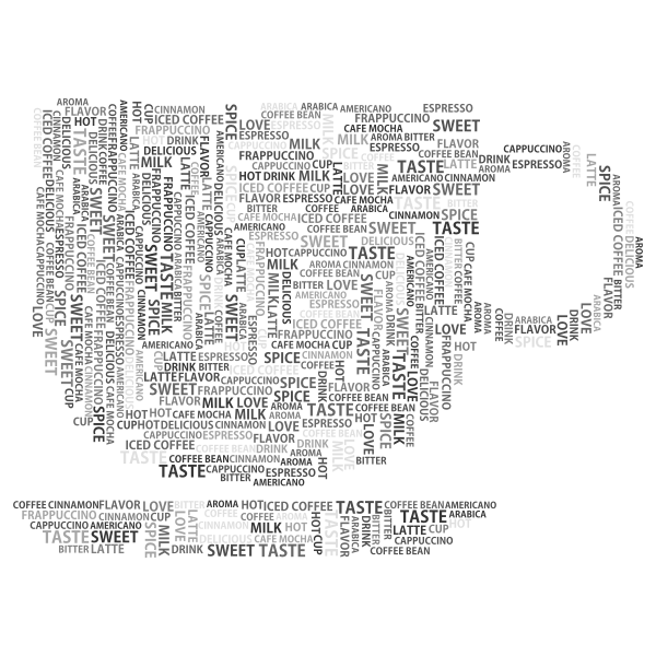Coffee Cup Word Cloud Grayscale No Background