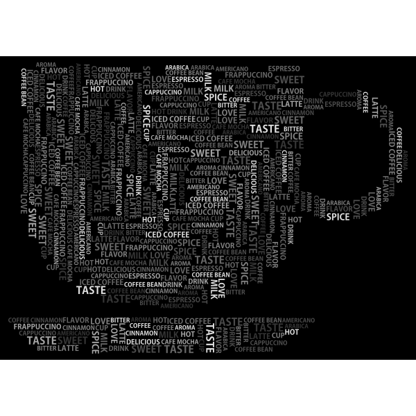 Coffee Cup Word Cloud Grayscale
