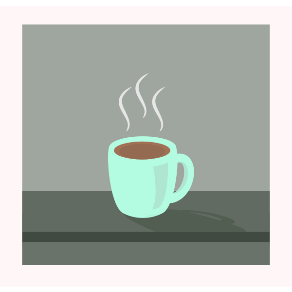 Vector image of steamy coffee mug on grey table
