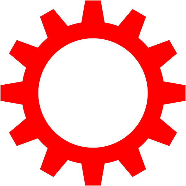 Red cogwheel symbol