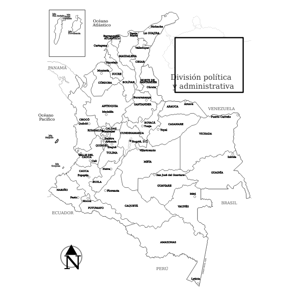 Colombia regions map vector image
