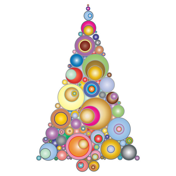 Colorful Abstract Circles Christmas Tree 3
