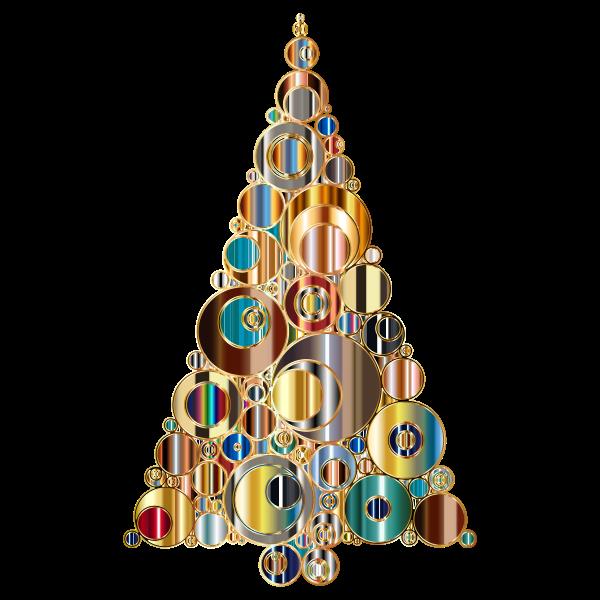 Colorful Abstract Circles Christmas Tree 6 Variation 3