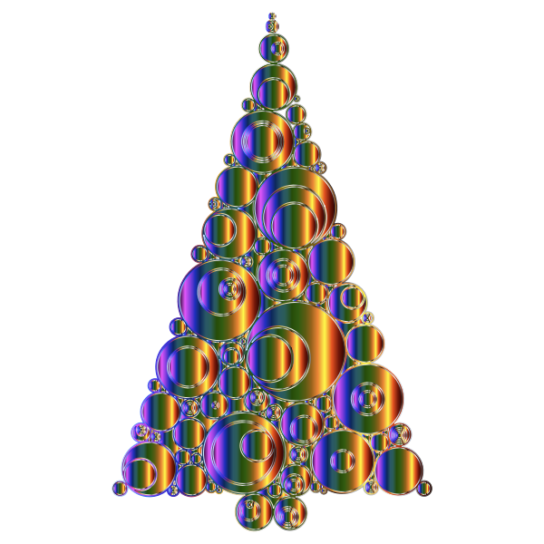 Colorful Abstract Circles Christmas Tree 6 Variation 4 No Background