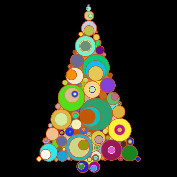 Colorful Abstract Circles Christmas Tree
