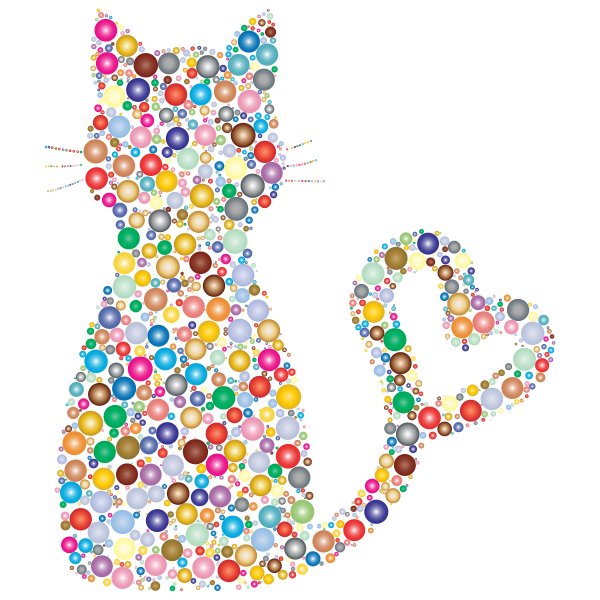 Colorful Cat Heart Tail Circles 2