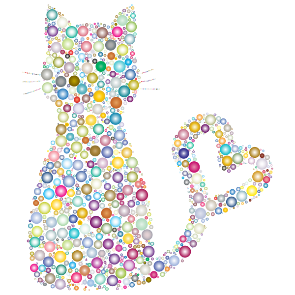 Colorful Cat Heart Tail Circles 3