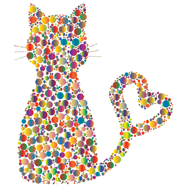 Colorful Cat Heart Tail Circles 4