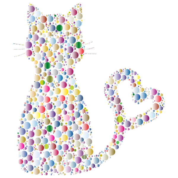 Colorful Cat Heart Tail Circles 5