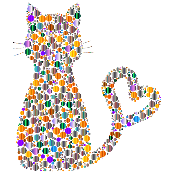 Colorful Cat Heart Tail Circles 7