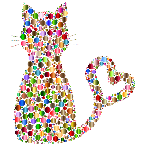 Colorful Cat Heart Tail Circles 8