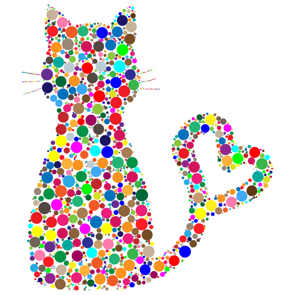 Colorful Cat Heart Tail Circles