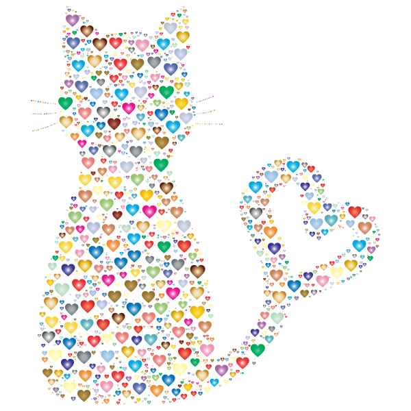 Colorful Cat Heart Tail Hearts 2