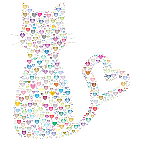 Colorful Cat Heart Tail Hearts 3
