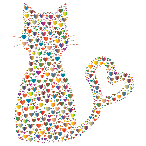 Colorful Cat Heart Tail Hearts 4