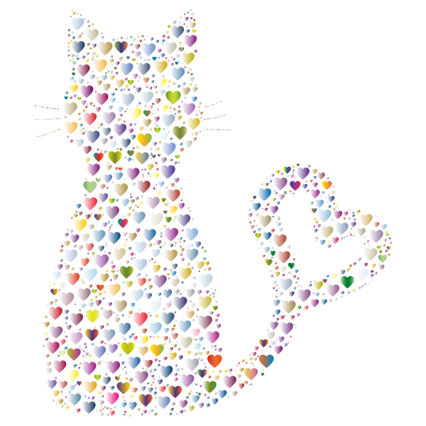 Colorful Cat Heart Tail Hearts 6