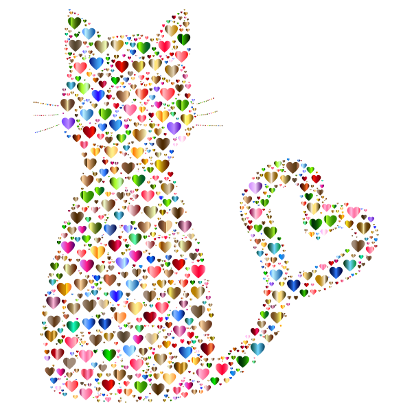 Colorful Cat Heart Tail Hearts 7