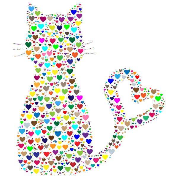 Colorful Cat Heart Tail Hearts