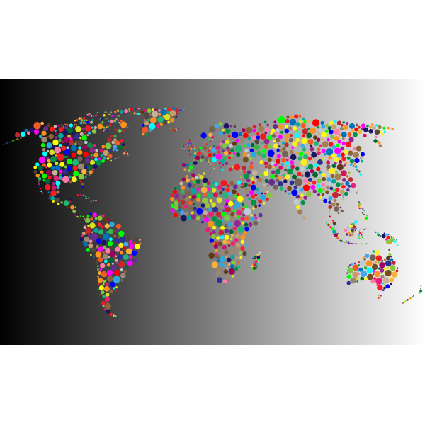 Colorful Circles World Map With Background 6